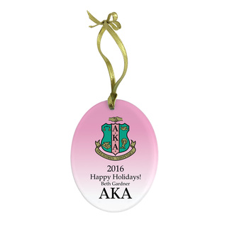 Alpha Kappa Alpha Holiday Color Crest Glass Ornament