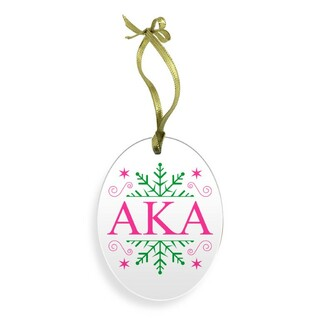 Alpha Kappa Alpha Holiday Color Snowflake Glass Christmas Ornament
