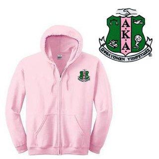 DISCOUNT-Alpha Kappa Alpha Emblem Full Zippered Hoodie