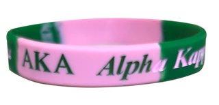 Alpha Kappa Alpha Pink & Green Silicone Bracelet