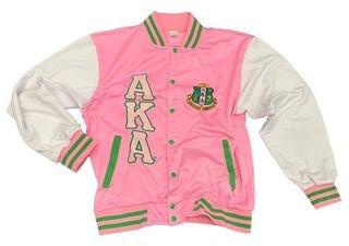 Alpha Kappa Alpha Pink & White Letterman Jacket