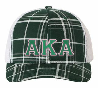 Alpha Kappa Alpha Plaid Snapback Trucker Hat