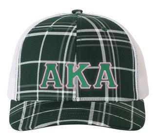 Alpha Kappa Alpha Plaid Snapback Trucker Hat