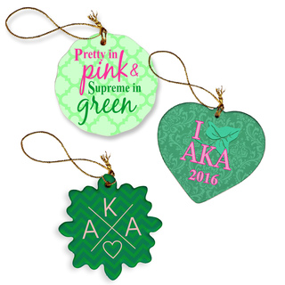 Alpha Kappa Alpha Porcelain Ornament Trio Set