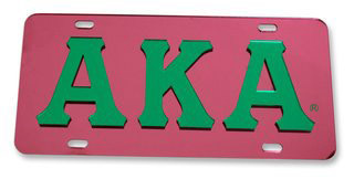 Alpha Kappa Alpha Raised Letter Plate - Mirrored