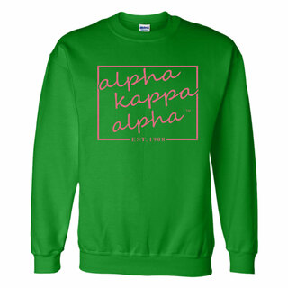 Alpha Kappa Alpha Script Box Crewneck Sweatshirt