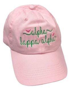 Alpha Kappa Alpha Script Hearts Ball Cap