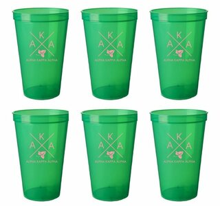 Alpha Kappa Alpha Set of 6 Big Plastic Stadium Cups - FREE GROUND SHIPPING