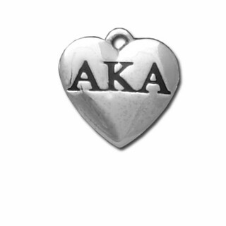 Alpha Kappa Alpha Silver Greek Heart Charm - CLOSEOUT