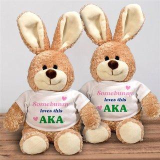 Alpha Kappa Alpha Somebunny Loves Me Stuffed Bunny