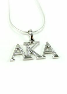 Alpha Kappa Alpha sterling silver lavaliere set with lab created diamonds