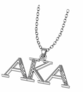 Alpha Kappa Alpha Horizontal Silver Necklace
