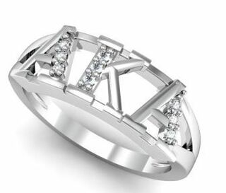 Alpha Kappa Alpha Sterling Silver Ring set with Lab-Created Diamonds