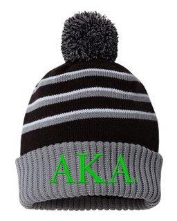 Alpha Kappa Alpha Stripe Pom Cuffed Beanie