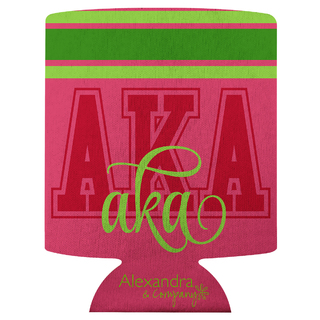 Alpha Kappa Alpha Striped Can Cooler
