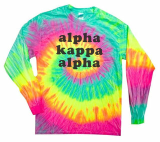 Alpha Kappa Alpha Tie-Dye Minty Rainbow Long-Sleeve T-Shirt