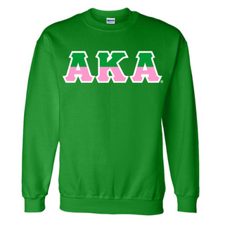 Alpha Kappa Alpha Two Tone Greek Lettered Crewneck Sweatshirt