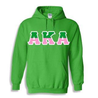 Alpha Kappa Alpha Two Tone Greek Lettered Hooded Sweatshirt