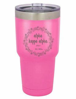 Alpha Kappa Alpha Vacuum Insulated Floral Tumbler