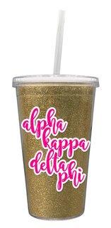 alpha Kappa Delta Phi 16 OZ Sorority Newport Glitter Tumbler
