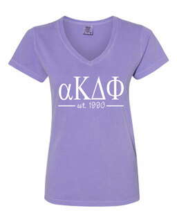 alpha Kappa Delta Phi Comfort Colors Est. V-Neck T-Shirt
