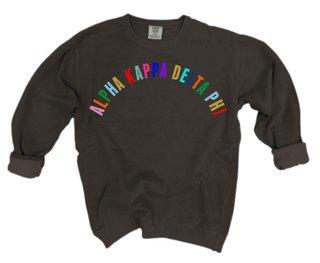 alpha Kappa Delta Phi Comfort Colors Rainbow Arch Crew