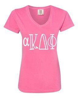 alpha Kappa Delta Phi Comfort Colors V-Neck T-Shirt