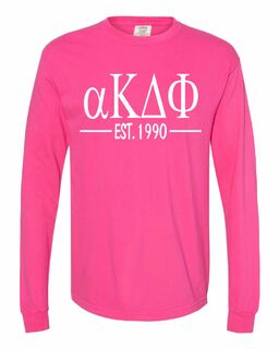 alpha Kappa Delta Phi Custom Greek Lettered Long Sleeve T-Shirt - Comfort Colors