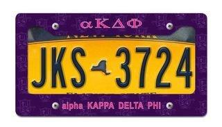 alpha Kappa Delta Phi License Plate Frame