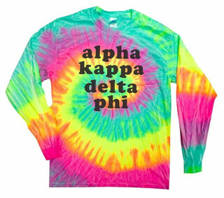 alpha Kappa Delta Phi Tie-Dye Minty Rainbow Long-Sleeve T-Shirt