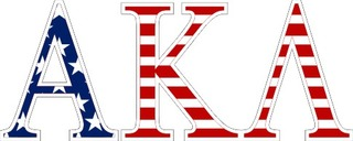 "Alpha Kappa Lambda American Flag Greek Letter Sticker - 2.5"" Tall"