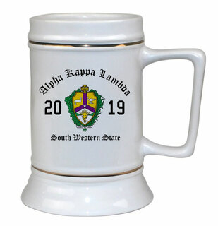 Alpha Kappa Lambda Ceramic Crest & Year Ceramic Stein Tankard - 28 ozs!