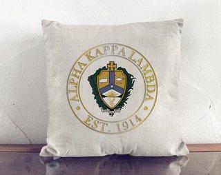 Alpha Kappa Lambda Crest Linen Pillow