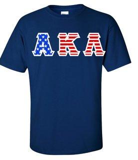 Alpha Kappa Lambda Greek Letter American Flag Tee