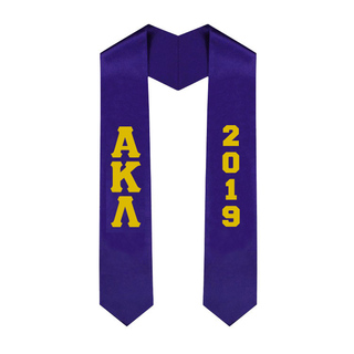 Alpha Kappa Lambda Greek Lettered Graduation Sash Stole With Year - Best Value