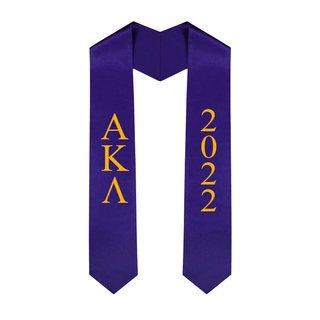 Alpha Kappa Lambda Greek Lettered Graduation Sash Stole With Year - Best Value