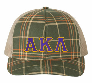 Alpha Kappa Lambda Plaid Snapback Trucker Hat - CLOSEOUT