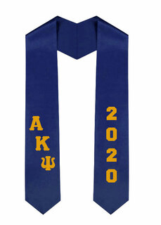 Alpha Kappa Psi Greek Diagonal Lettered Graduation Sash Stole With Year