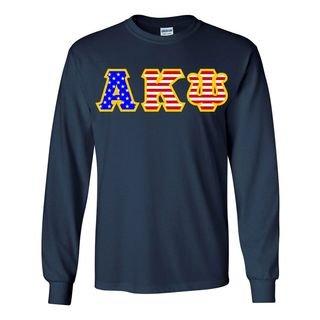 Alpha Kappa Psi Greek Letter American Flag long sleeve tee