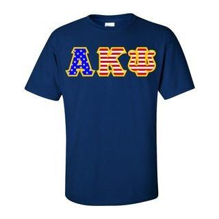 Alpha Kappa Psi Greek Letter American Flag Tee