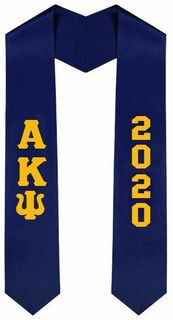 Alpha Kappa Psi Greek Lettered Graduation Sash Stole With Year - Best Value