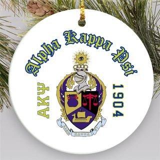 Alpha Kappa Psi Round Christmas Shield Ornament