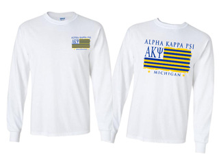 Alpha Kappa Psi Stripes Long Sleeve T-shirt - Comfort Colors