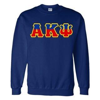 Alpha Kappa Psi Two Tone Greek Lettered Crewneck Sweatshirt