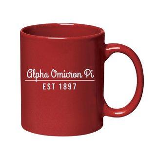 Alpha Omicron Pi 11 oz. Colored Stoneware Mug