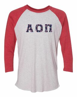 Alpha Omicron Pi Unisex Tri-Blend Three-Quarter Sleeve Baseball Raglan Tee