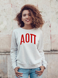 Alpha Omicron Pi Arched Greek Lettered Crewneck Sweatshirt