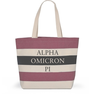 Alpha Omicron Pi Bid Day Striped Tote