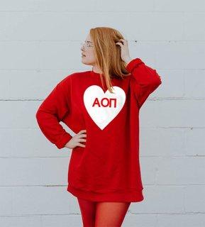 Alpha Omicron Pi Big Heart Sweatshirt