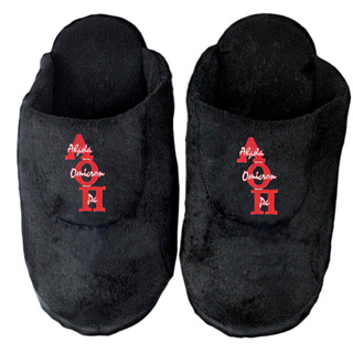 DISCOUNT-Alpha Omicron Pi Black Solid Letter Slipper